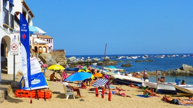 Section of beach in Calella de Palafrugell, Spain
