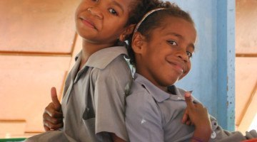 Two girls at Dormitory at Ratu Naivalu School, Fiji