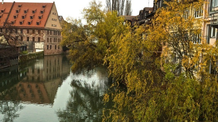Nuremberg seen from a bridge over the Pegnitz River